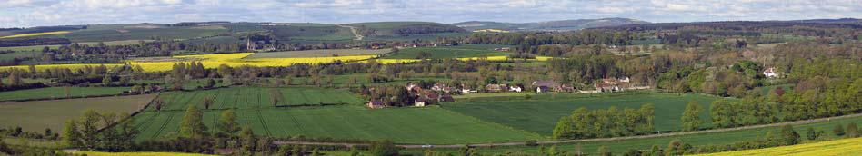 View across fields and hedgerows to the village of Norton Bavant, home of Footpath Holidays